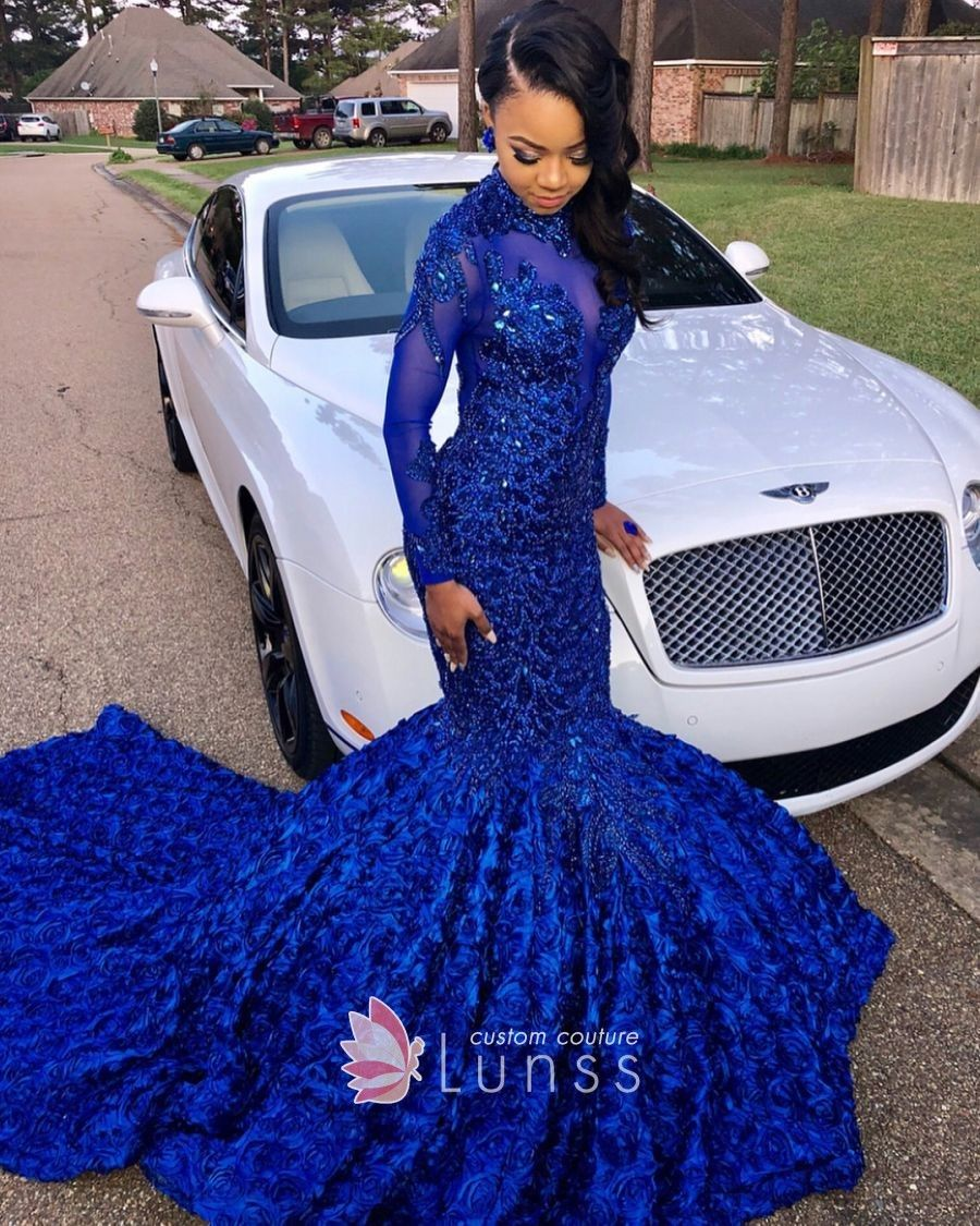 Luxury Royal Blue Lace Appliqued 3d Rose Mermaid Long