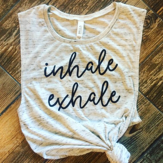 Inhale exhale yoga tank workout tank muscle tee mom tank | Etsy