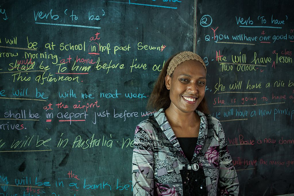Grade 11 teacher Annette teaches English to her students at Norsup Secondary School. AusAID supports education projects on Malekula Island ...