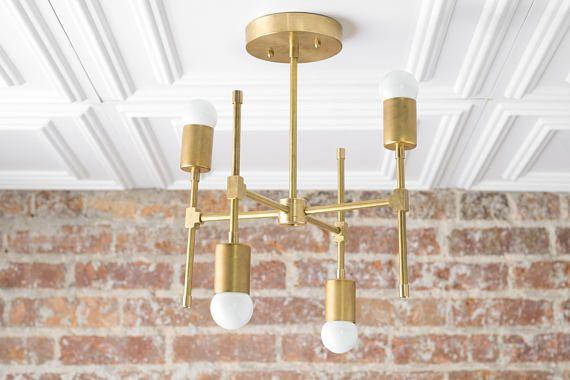 Geometric Chandelier  Gold Ceiling Light  Geometric Fixture