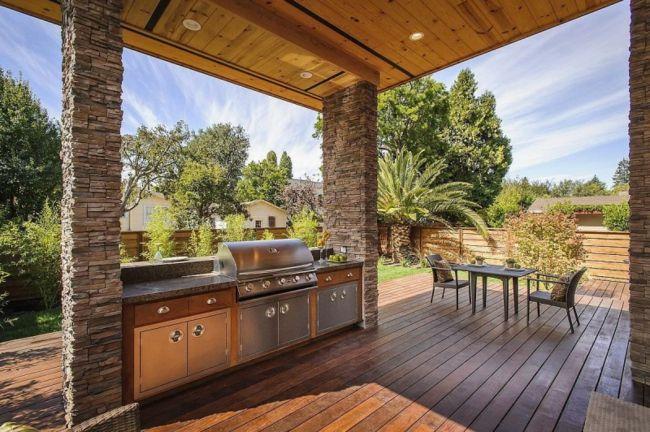 Holzterrasse Outdoor Küche Essplatz Haus Kalifornien - outdoor k che selber bauen