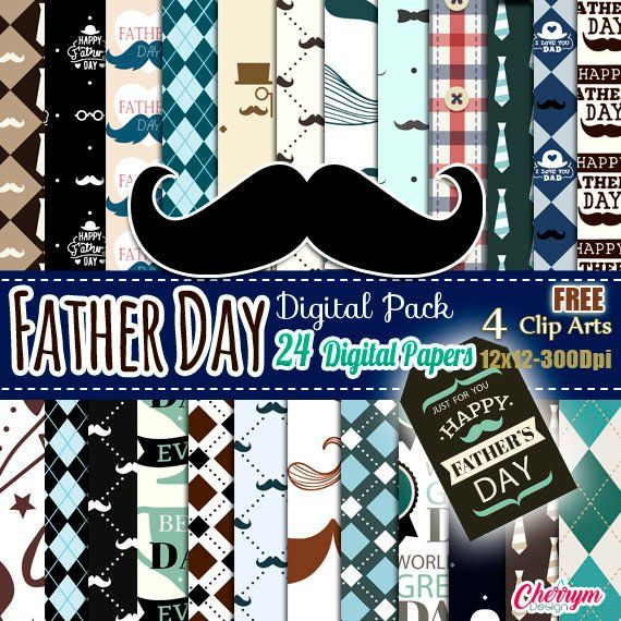 Fathers Day Digital Paper Best Dad Printable Seamless Patterns