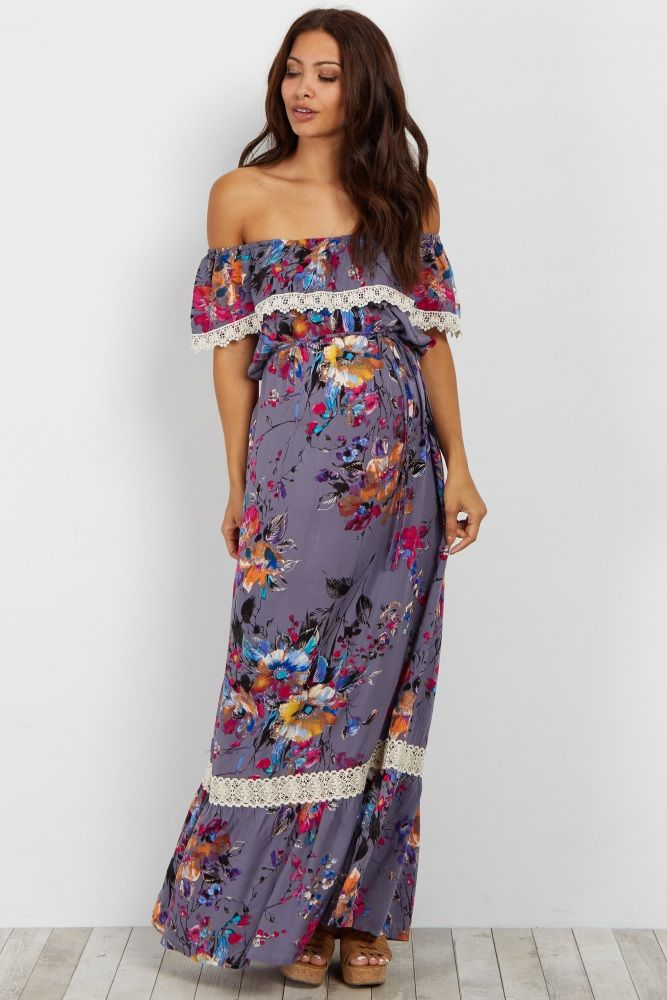 88c7d0e39530a For the perfect spring dress, a maternity maxi dress is just the number you  are looking for. A flattering cinched at waist style and crochet trim make  this ...
