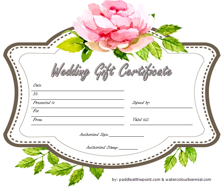 Free Wedding Gift Certificate Template Word With Floral Design 1