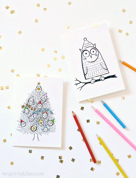 christmas cards to color | DIY | Pinterest | tarjetas de Navidad ...