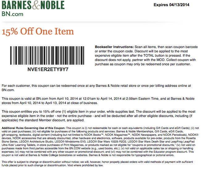 free printable coupons barnes and noble coupons