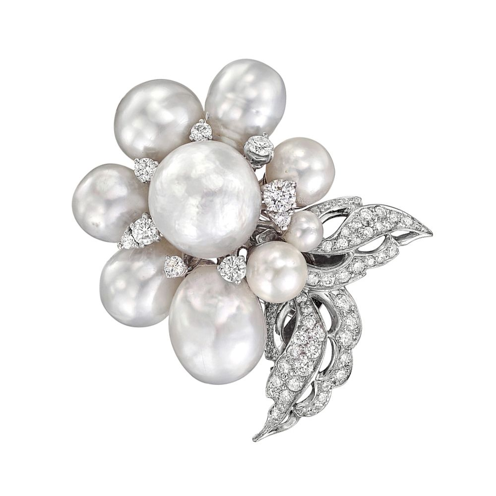 0d2251b86de Estate Seaman Schepps ~ South Sea Pearl and Diamond Brooch