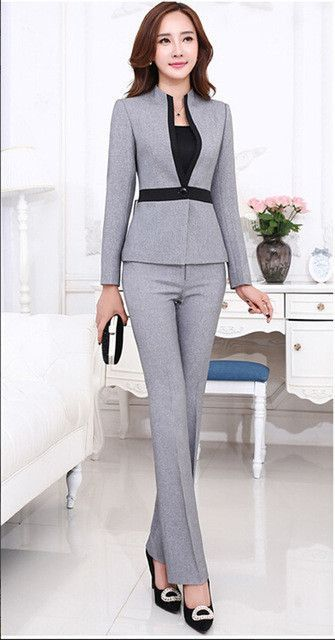 2d8cf59937ac6 High quality new fashion women's suits with pants formal female clothes  plus size long-sleeve blazer with Trousers
