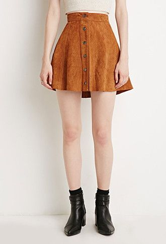 Button Suede Skirt (brown) Forever21