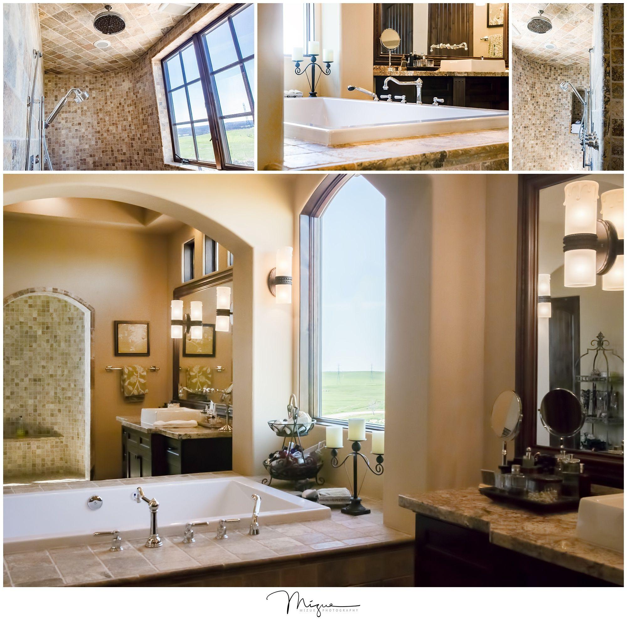 Warm Spanish styled bathroom with walk-in shower | Butler ...