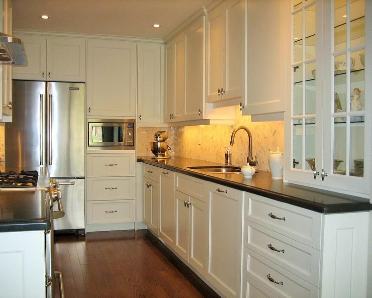 Transitional Custom Kitchen Cloud White Cabinets