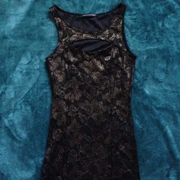 Dress Lacey gold and black dress. Perfect condition. Foreign Exchange Dresses