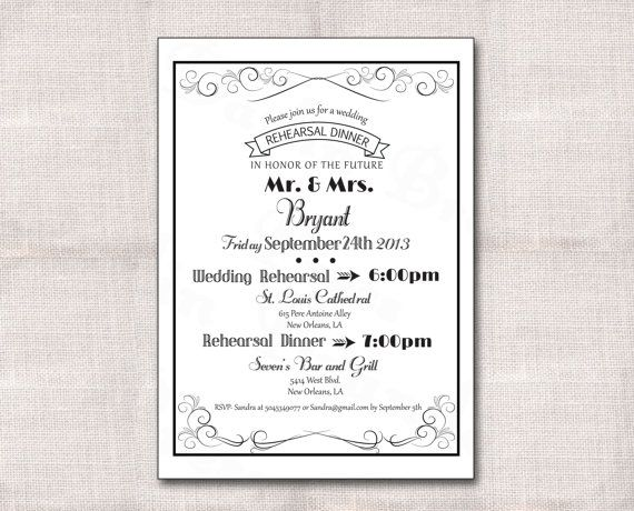 Flourishes Rehearsal Dinner Invitation Custom by DarlinBrandoPress, $15.00