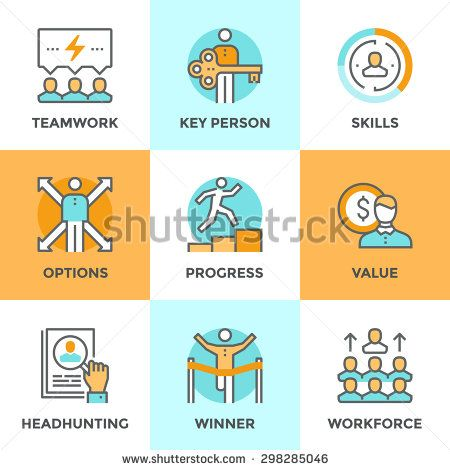 Line icons set with flat design elements of business people - line leader