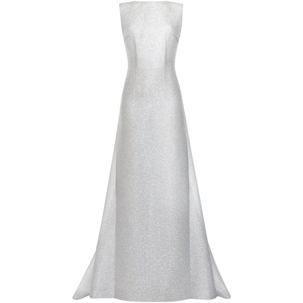 Emilia Wickstead Silver Sparkles Jennifer Long Dress (€6.035) ❤ liked on Polyvore featuring dresses, gowns, white evening gown, long dresses, white maxi skirt, white evening dresses and see through dress