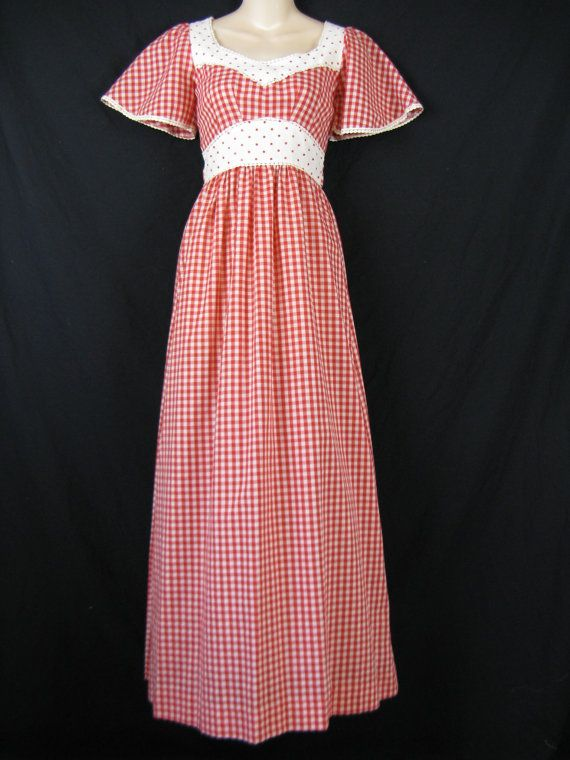 1970\'s red gingham maxi dress. Jody T angel wing, polka dot bodice ...