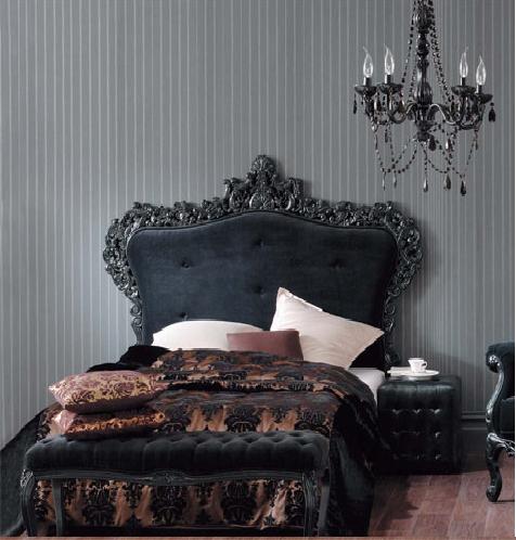 black tufted headboard Victorian bedroom, Gothic bedroom
