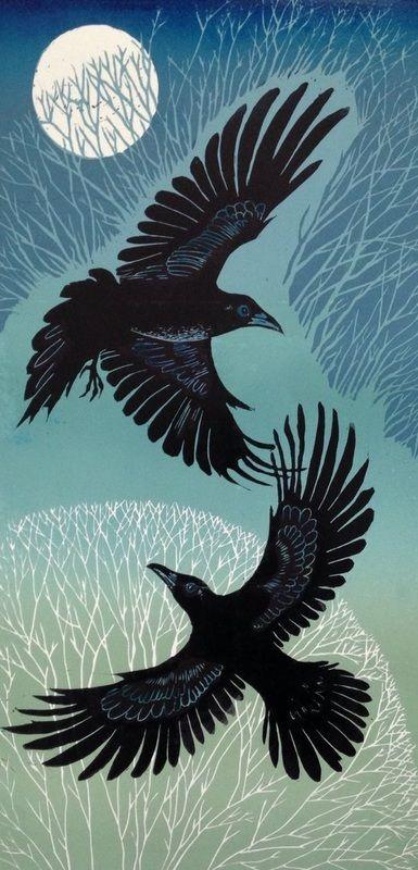 Raven Winter - Linocut,