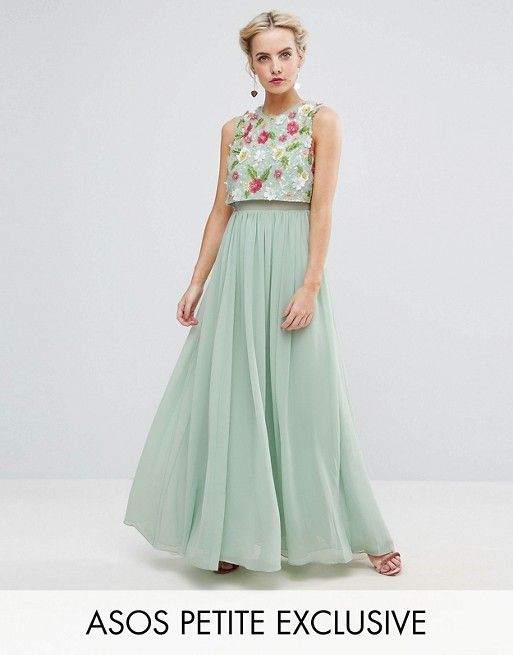 PETITE 3D Floral Embellished Crop Top Maxi Dress | Pinterest