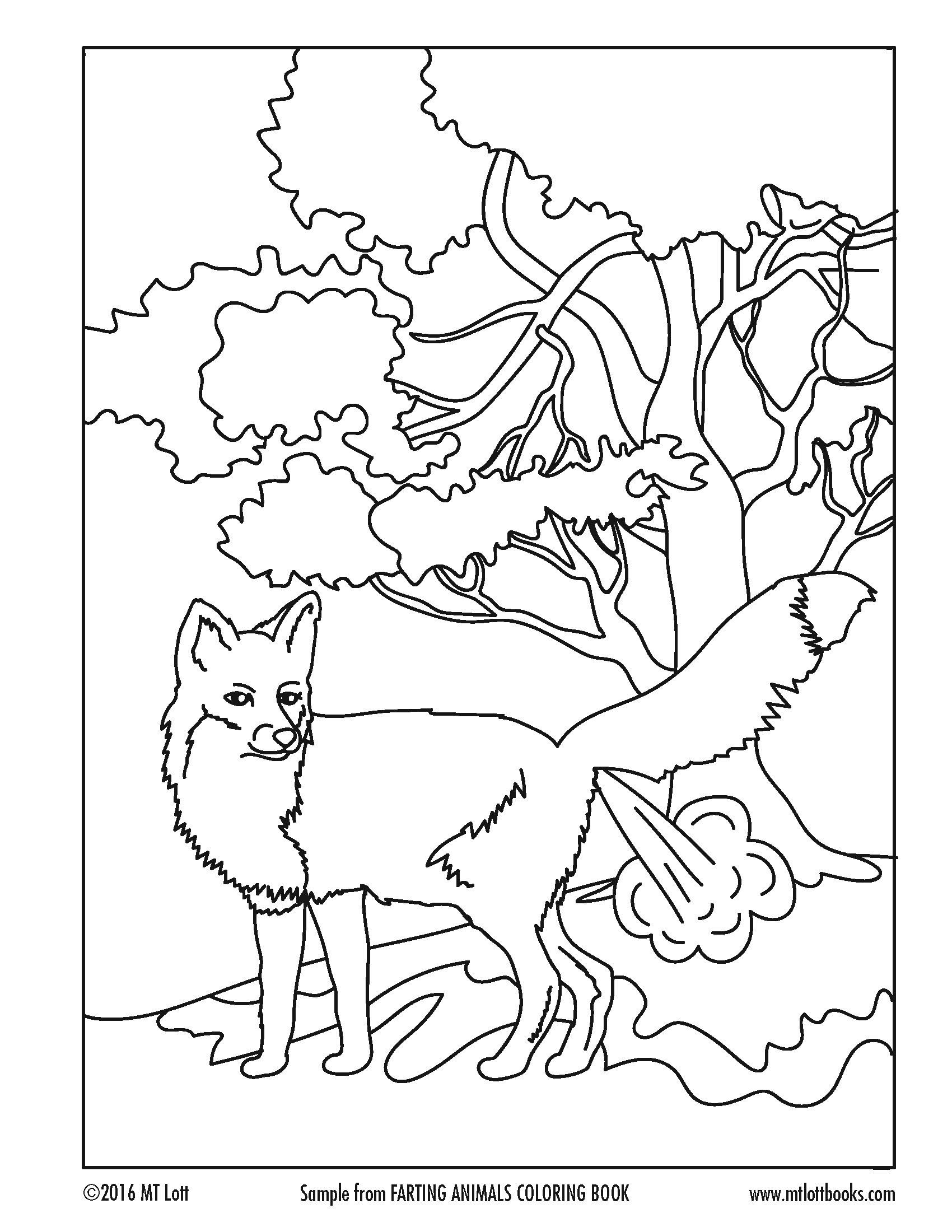 Free Coloring Page From M T Lott S Farting Animals Coloring Book