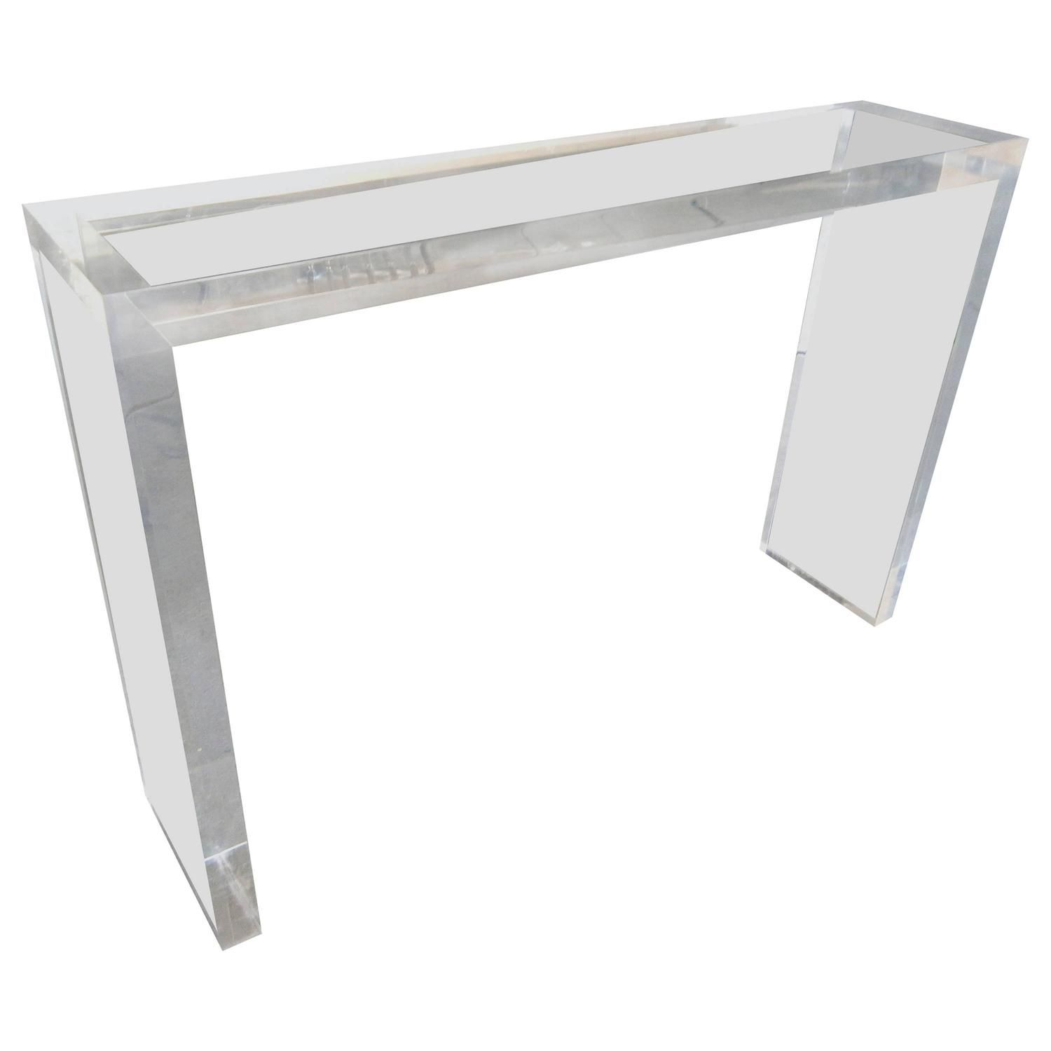 Minimalist Custom Made Thick Lucite Console Table By Carmichael 1 Console Table Table Vintage Table