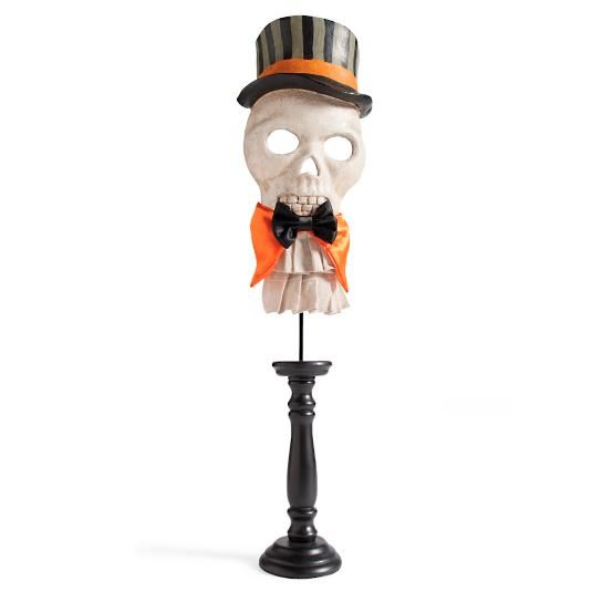 Halloween Skull Mask on Pedestal