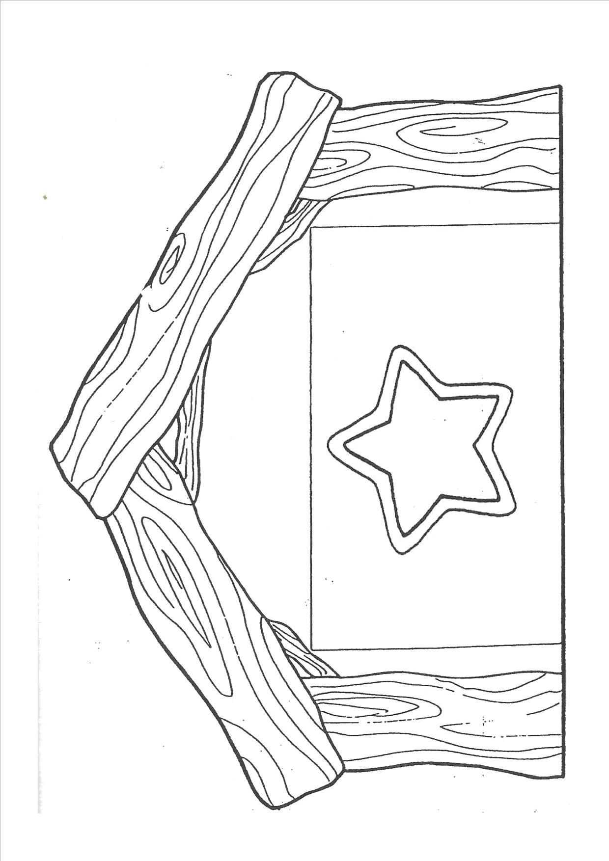 Manger scene template part 1 - cut out outline of stable and star ...