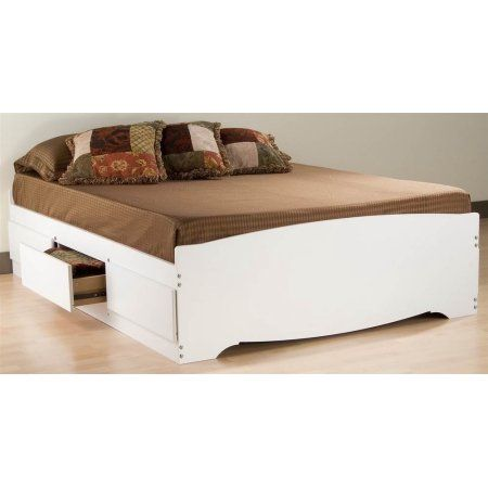 Queen Mates Platform Storage Bed with 6 Drawers, White (Box 1 of 3