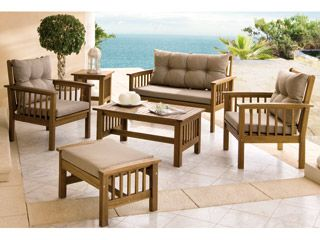Conjunto mod new morocco madera de acacia carrefour home for Banco madera jardin carrefour