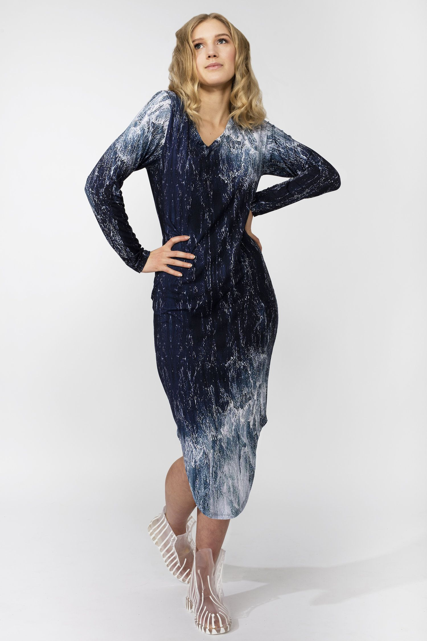 af6126fc70c Camilla Dress Sea Print from The Kepaza  Under The Umbrella  Collection by  Award Winning Norwegian Fashion Designer Pernille Fristad