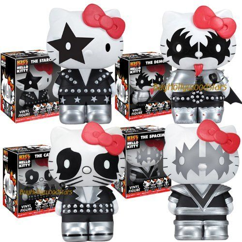 """Collector's 2011 Funko KISS & HELLO KITTY 5"""" Vinyl Figure Set of 4 in MINT BOXES by Funko. $49.95. Comes in MINT & Collectible Boxes. 5"""" Vinyl Figures. Fans of Hello Kitty and KISS, rejoice! It's Sanrio's ever-popular and cute little kitty cat, Hello Kittty, made up to look like the band KISS, and in adorable Pop! Vinyl form! Measures about 5 1/2-inches tall each."""