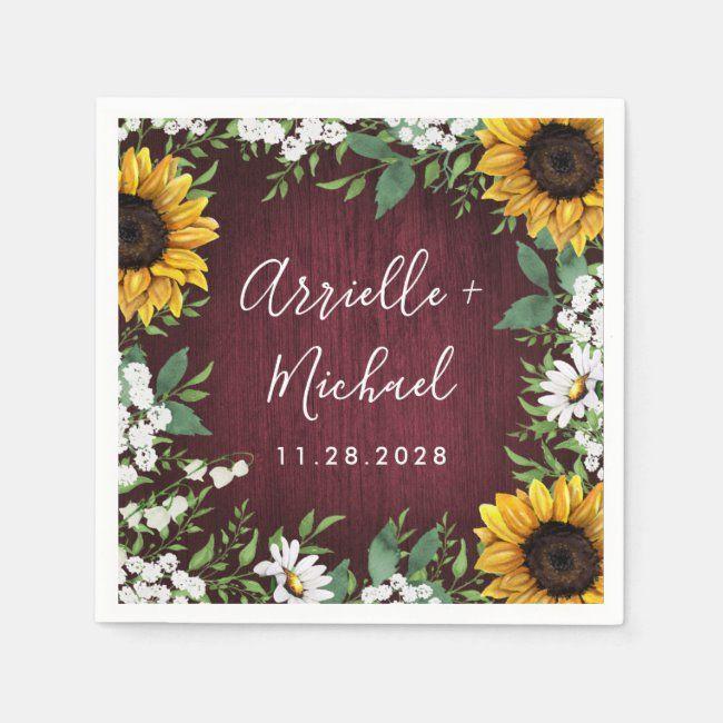 Burgundy Red Sunflower Greenery Wreath Wedding Napkins | Zazzle.com