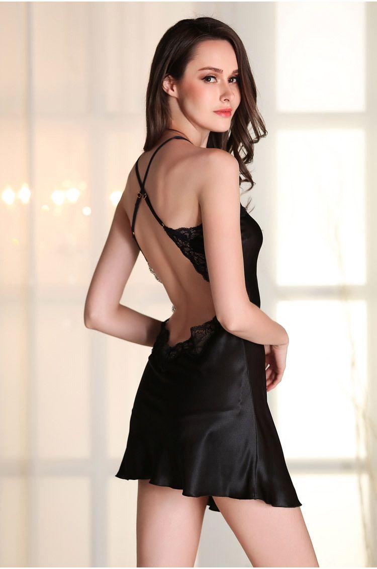 8cfdecf18c241 Aliexpress.com  Comprar Mujeres sexy encaje sleepshirt camisón mujer sin  espalda vestido de noche ropa de dormir camisón de satén de seda femenino  femme ...