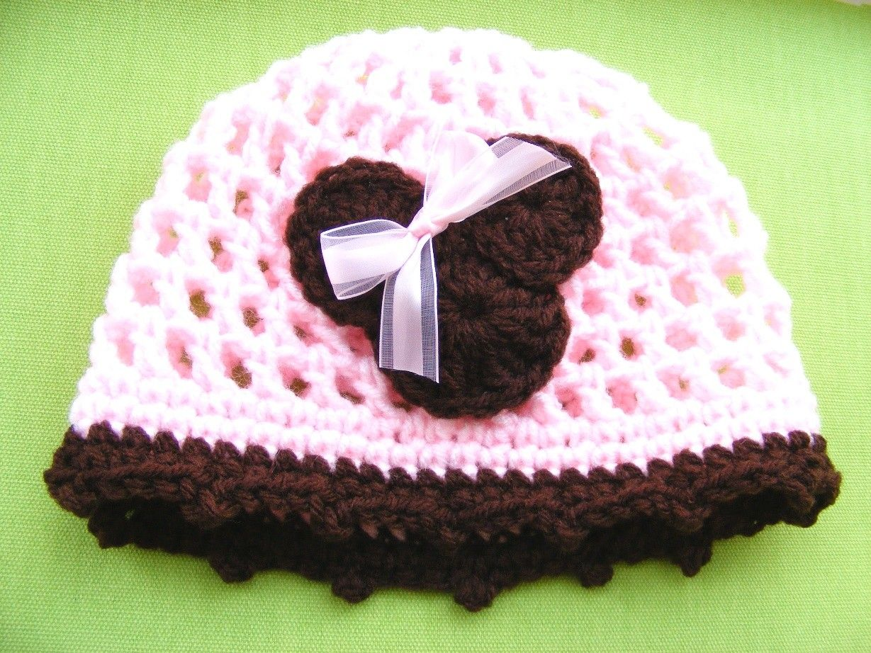 Crochet Pattern Hat Minnie Mouse Applique Easy Preemie to Adult ...