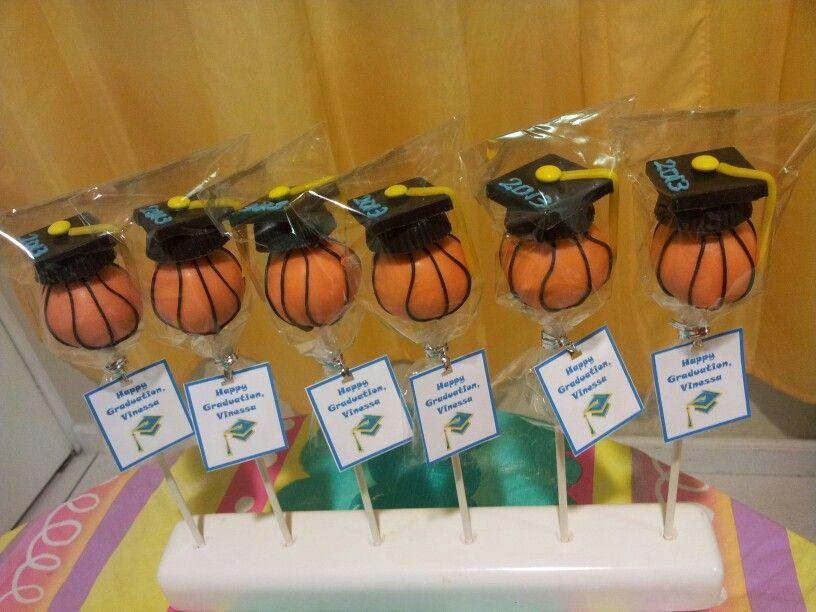 Basketball graduation caps cake pops graduation cap cake