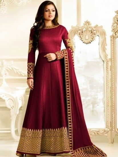 da8cf646a9 Dazzling Red Party Wear Anarkali Style Suit in 2019 | dress | Silk ...