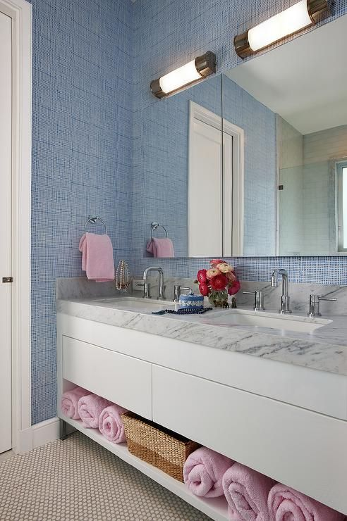 blue and pink bathroom designs. Blue And Pink Bathroom Features Walls Clad In Textured Wallpaper Lined With A White Lacquered Washstand Shelf Filled Towels Topped Designs N