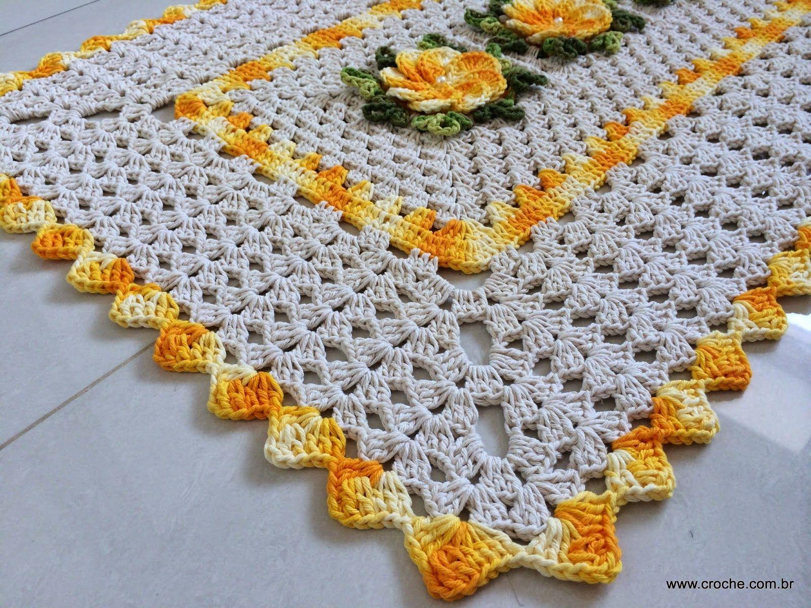 Tapete retangular passo a passo parte 1 crochet thread for Tapetes de crochet