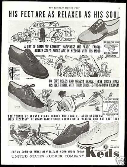 U.S Rubber Co Keds Shoes Sneakers Vintage (1939)  9ddd4f9f08f