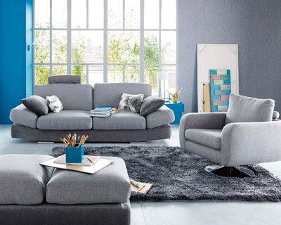 Déco inTérieur BLeu et Gris  Deco Salon Bleu Et Gris : canapé ...