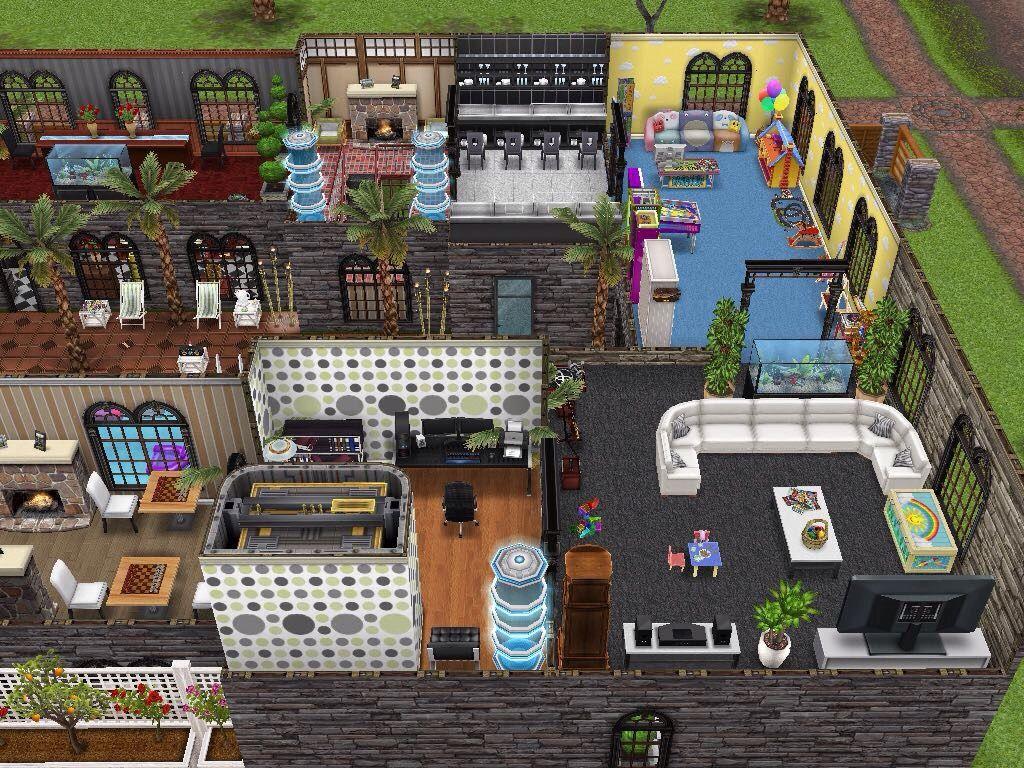 Sims freeplay original designs three story mansion for Casa de diseno sims freeplay