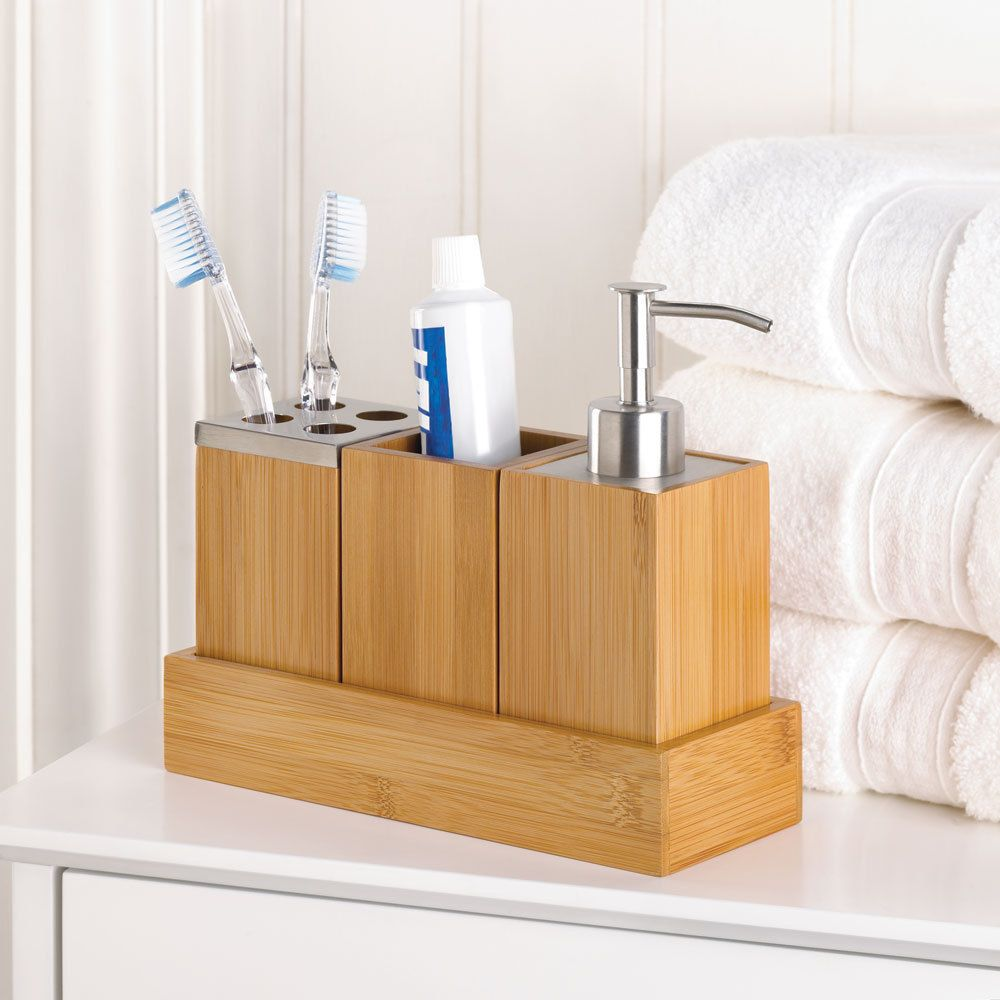 Bamboo Bathroom Accessory Set In Tray Soap Dispenser Cup Toothbrush Holder Home Garden