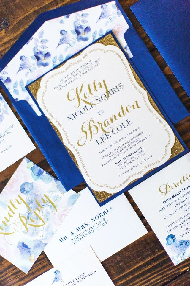 Glittery Navy & Gold Bird Themed Wedding Invitation Suite ...