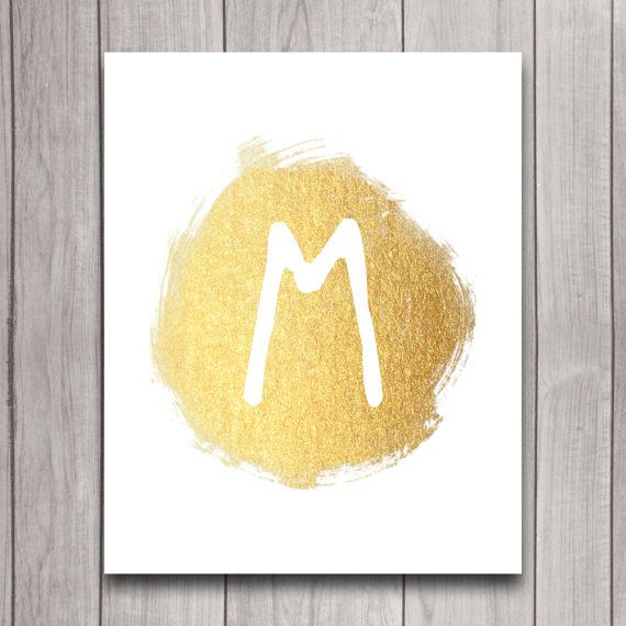 Gold Initial Nursery Name Wall Art Digital Download, Glitter Effect ...