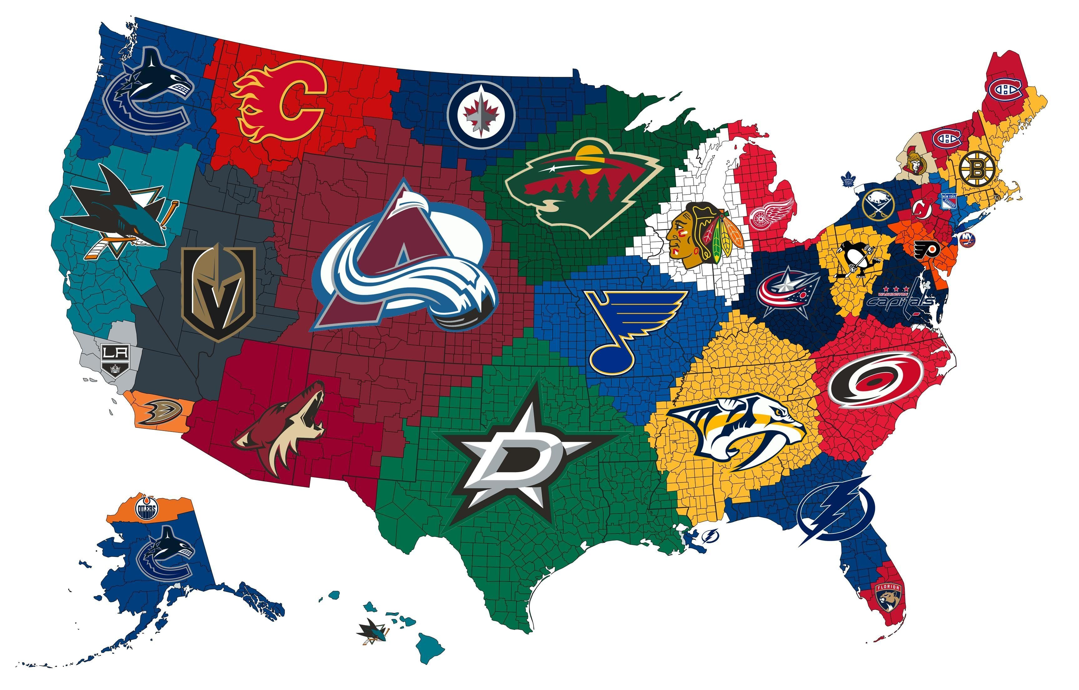 A Map Of The Closest Nhl Teams To Each Us County Hockey Teams Nhl Map