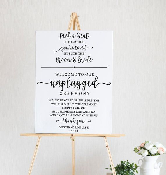 Wedding Welcome Sign Template Printable Unplugged Ceremony Etsy
