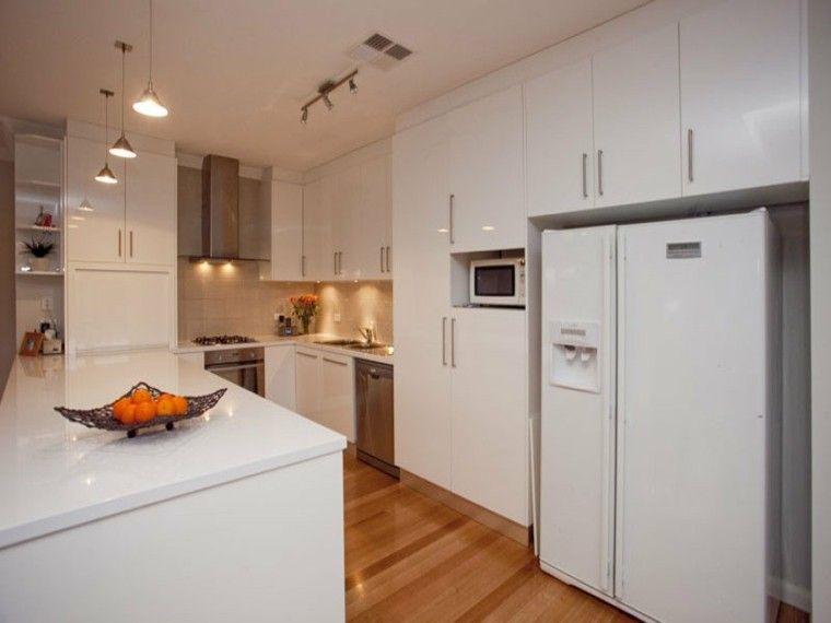 Dise o de cocina moderna blanca cocina en forma de u - Cocinas diseno moderno ...