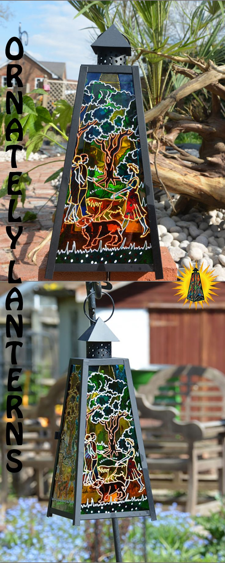 Four Seasons Dog Suncatcher Hand Painted Gl Decoration Hanging Candle Lantern Doggy Night
