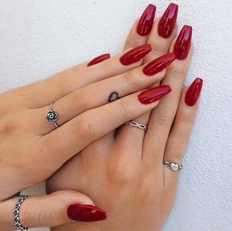 Photo of 25 + ›Gel nails red pointed