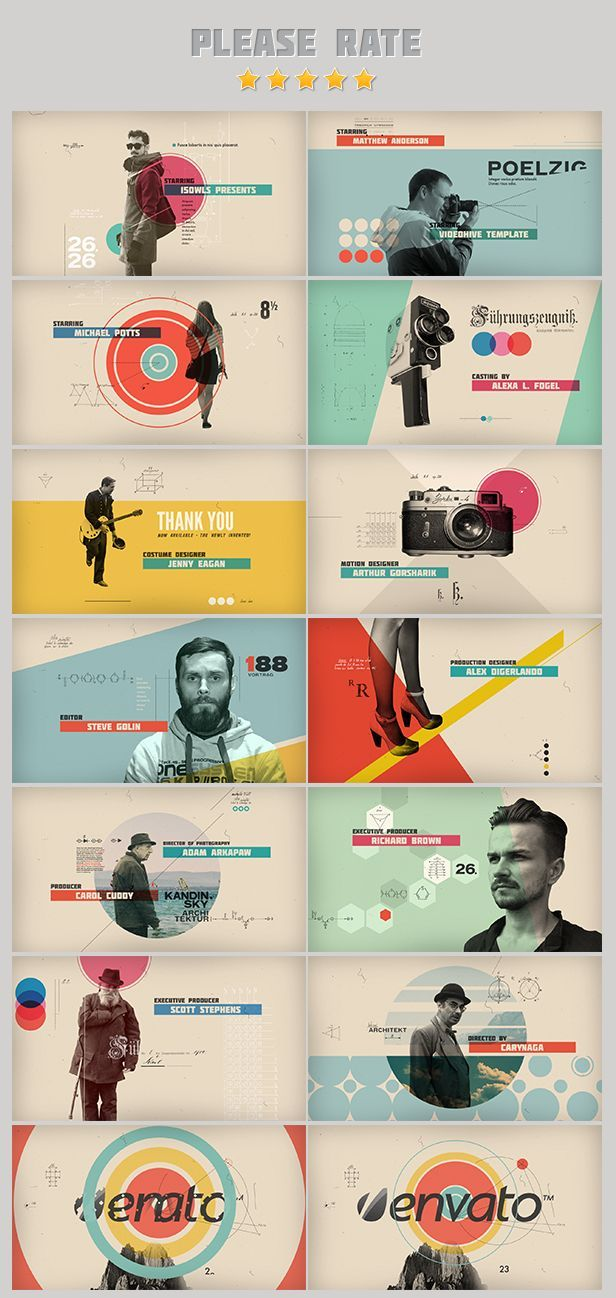 Color / Layout / Photo Integration /// After Effects Project Files - Retro Graphics Movie Titles   VideoHive: